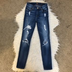 7FAM the ankle skinny jeans distressed dark wash
